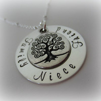 Personalized Niece Necklace-Gift from Aunt-Jewelry for Niece-Personalized Family Tree Niece Pendant with Birthstone-Niece, Family, Friend