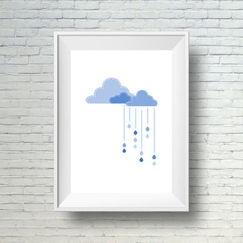 Printable nursery art, Cloud nursery wall art,  Baby room art, Kids room art print, Blue clouds and raindrops baby print, Blue nursery print