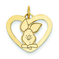 Gold-plated SS Disney Piglet Heart Charm WD196GP