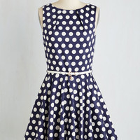 Mid-length Sleeveless Fit & Flare Luck Be a Lady Dress in Navy Dots by Closet London from ModCloth
