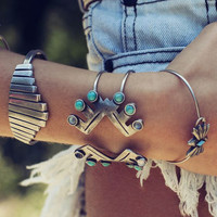 Boho Gypsy Silver Plate Bracelets Bangle Turquoise Gem Stone Cuff Bangle Jewelry For Wmen #91801