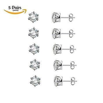 AUGUAU Stainless Steel Hypoallergenic CZ Earrings Studs 5 Pairs (3mm) Fashion Jewelry Sets for Sensitive Girls Women & Men' Cartilage, Ear Piercing