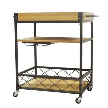 Kitchen Mobile Serving Bar Cart With Shelves And Wine Glass Holder, Brown And Black