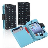 eForCity Leather Wallet Case for Apple iPod touch 4G, Black/Blue Dot:Amazon:MP3 Players & Accessories