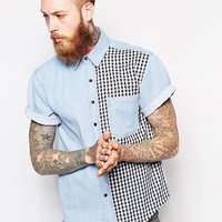 Reclaimed Vintage Denim Short Sleeve Shirt With Check Panel -