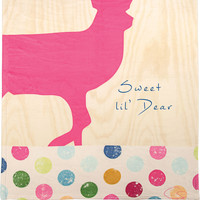 "Manual Woodworkers Pop Art Sweet Lil' Deer Pink Deer Fleece Baby Blanket 30x40"" with Pacifier Clip"