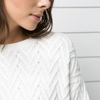 HERRINGBONE TEXTURED SWEATER