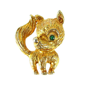 Vintage Gold Fox Figural Brooch Pin (Green Rhinestone Eye, Woodland Animal Jewelry, Signed, 1950s 1960s Mad Men, Retro Costume Jewelry)