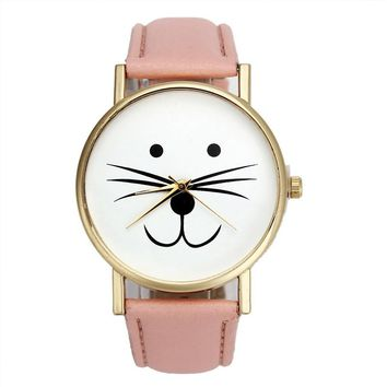 Fashion Cat face pattern Leather Band Analog Quartz Vogue Wrist Watches