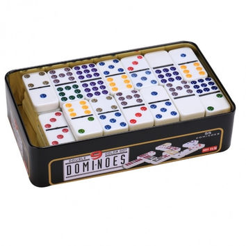 Entertainment Domino Games 55 PCS Double Nine Colored Melamine Domino Set With Packing Metal Box