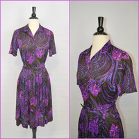 1970s Purple Paisley Shirtwaist Dress