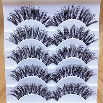 Thick False Eyelashes Messy Cross Thick Natural Fake Eyelashes Professional Makeup Tips Bigeye Makeup Tool Long False Eyelashes Color Black