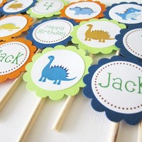 Dinosaur Cupcake Toppers for Birthday or Baby Shower Party Decoration