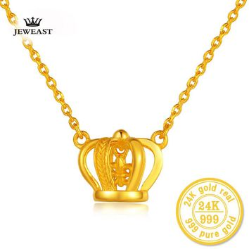24K Pure Gold Princess Ornate Crown Necklace