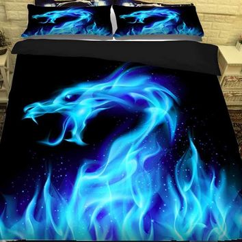 3D Dragon Bed Linen Bedding Sets Comforter Bed Cover Quilt Cover Galaxy Duvet Cover Set Queen King Size Bedding Double Bed Sheet