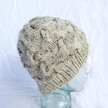 Knit Cable Hat, Braided Cable Beanie, White Beige Hat, Winter Hat, Tweed White Toque, Womens Winter Hat, Mens Knit Beanie
