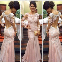 Long Sleeve Pink Applique Prom Dresses