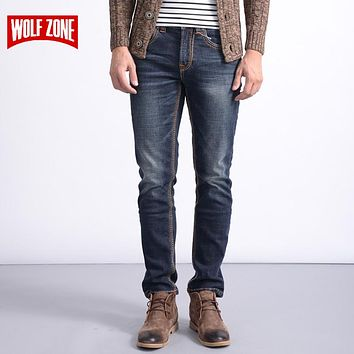 Men Stretch Denim Men Pants Zip Fly Biker Jean Male Long Trousers Blue Full Length Mid Winter