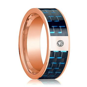 Mens Wedding Band 14K Rose Gold and Diamond with Black & Blue Carbon Fiber Inlay Flat Polished Design