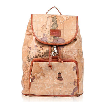 Unique Design World Map Backpack Travel Bag Brown