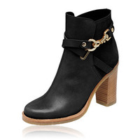 Mulberry - Dorset Summer High Heel Bootie in Black Leather & Suede Mix