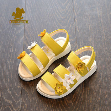 LK Summer New Style Kids Sandals Children Beach Sandals Fashion Toddler Baby Korean Leather Flower Flat Pricness Shoes For Girls