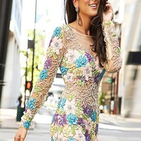 Long Sleeve Floral Cocktail Dress 99019