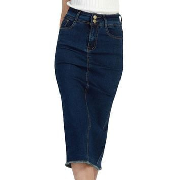 Women High Waist Pencil Skirt Denim Midi Plus Size S-3XL Package Hip Skirt Summer Jeans Tassel Vintage Formal Office Jeans Skirt