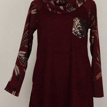 Knit Cowl Necked Tunic w Feather Print Contrast