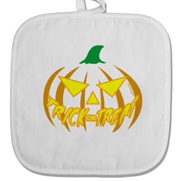 Trick or Treat Jack Yellow White Fabric Pot Holder Hot Pad