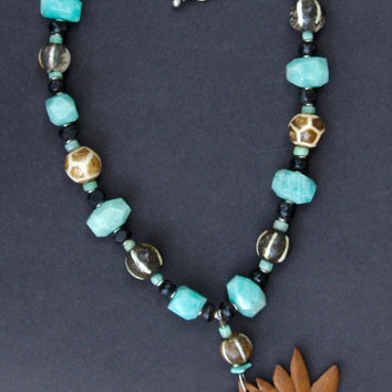 Carved Lotus Necklace Indonesian Rosewood Flower w Amazonite Nuggets and Old Pumtek Beads Bali Eternity Lotus Ethnic Jewelr