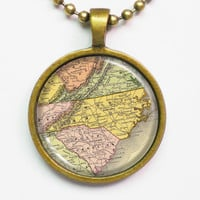 State Map Necklace - North Carolina -Vintage Map Series