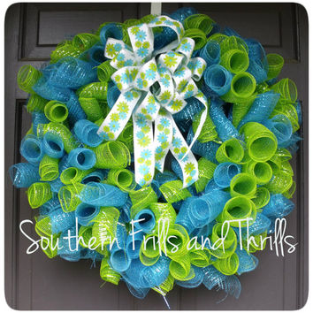 Blue and Green Curly Q Deco Mesh Wreath