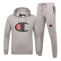 Champion Autumn And Winter New Fashion Bust Logo Print Hooded Long Sleeve Sweater And Pants Men Two Piece Suit Gray