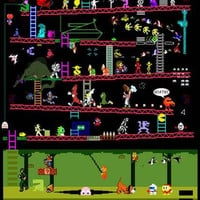Classic Arcade Video Games Mash-up Poster 11x17