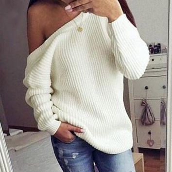 DCCK7XP Fashion Backless Loose Solid Color Sweater
