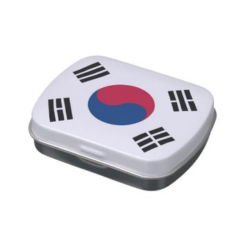 Patriotic candy tins with Flag of South Korea
