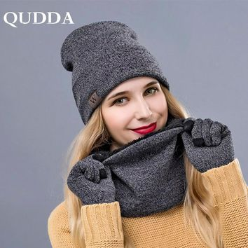 QUDDA Winter Warm Hat Beanie Thick Infinity Scarf Smart Touch Screen Texting Gloves Set Skullies Beanies Hat Scarf&Gloves