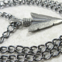 Arrowhead Necklace, Dark Silver Tone Chain, Gift for Men
