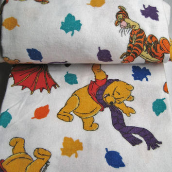 Vintage Disney Winnie the Pooh Flannel Bed Sheet TWIN Size Flat Sheet Bedding Autumn Leaves Kids Bedding Craft Fabric Clean USED