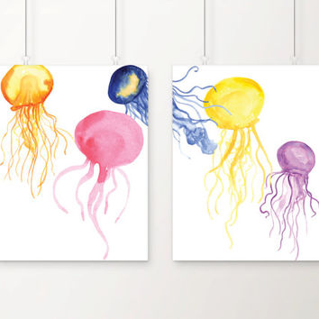 Jellyfish Watercolor Art Print Set of 2 - Home Decor - Wall Art - Office Decor