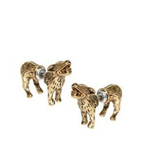River Island Wolf Front And Back Earrings