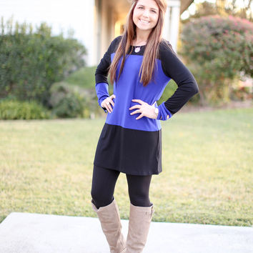 Cute as a Button Tunic - Black and Blue
