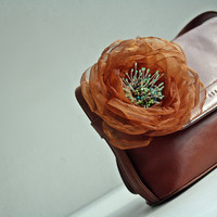 Copper Rust Flower Organza Hand Made Brooch,Hair,Hat or Handbag Accessory Green Orange Caramel
