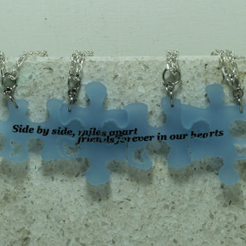 Puzzle Pieces 4 piece Acrylic Necklace Set Side by side quote frosted blue