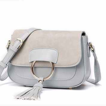 Oh Ring Crossbody Tassel Dangle Multi-Color PU Leather Bag