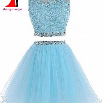 Many Colors 2 Piece Short Prom Dresses 2017 Cheap Plus Size Crystal Ball Gown Party Homecoming Dress For Girls Vestidos De Festa