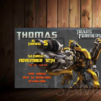 Transformer Birthday Invitation Card Personalized - Birthday Invitation