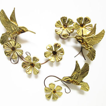 Metal Humming Bird wall Hanging Wall Decor 3 piece set by Homco Home Interiors Birds and Flowers