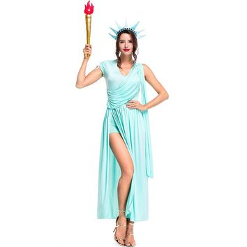 Umorden Colonial 4th of July Costumes Blue Sexy Statue of Liberty Costume Greek Athena Goddess Cosplay Fancy Dress for Women